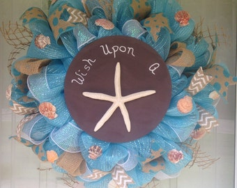 Star Seashells Nautical Beach Wreath