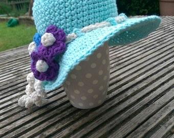 0-3m blue flower sunhat ~ 100% cotton