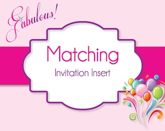 Invitation Insert - Made To Match Your Invitation