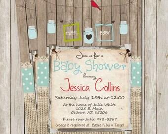 Rustic Baby Shower Invitation, Digital file, Printable, Birds, Mason Jar, Invite, Printable, 5x7
