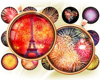 "Firework ( salute ) - bottle cap images -1'' circles 25mm, 30mm, 1.25"", 1.5"" rounds Digital Collage, Instant Download, BUY 2 GET 1 FREE"