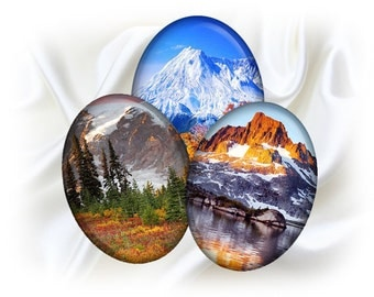 Mountain landscapes - 30x40 mm Ovals graphics for scrapbooking, stickers, Digital collage sheet, 25 Images File 8,5 x 11