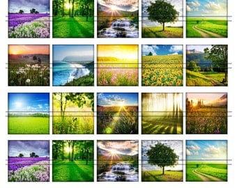 Summer world (sunshine) - 1,5'' inch squares, graphics for scrapbooking, stickers, Digital Printable Images File 8,5x11, BUY 2 GET 1 FREE
