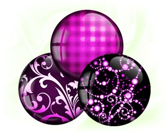 Pink violet purple patterns - Digital bottle caps images - 1'' inch circles for Jewelry Making, Digital Collage Sheets, BUY 2 GET 1 FREE