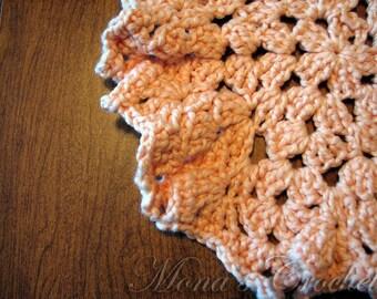 Hand Crocheted Peach Peruvian Cotton Star Burst Spa Cloth | Face Cloth | Washcloth | Crochet Washcloth | Crochet Bath Cloth
