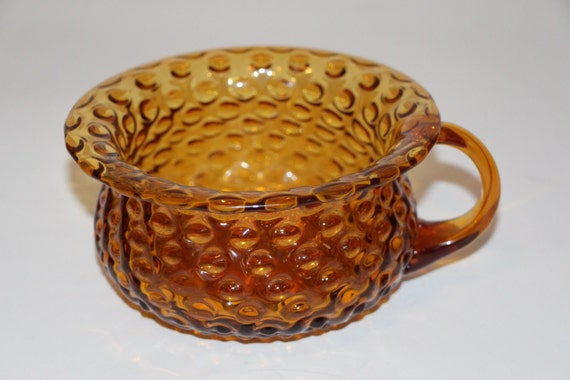 Large Hobnail One Handled Bowl Amber Glass