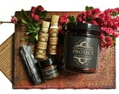 PROTECT Bundle ~ 9 oz Essential Oil Soy Candle ~ Vesta Powder ~ Hawthorn thorns ~ Protection Anointing Balm by Nightshade Botanicals