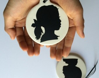 One Hand Cutout Custom Silhouette Ornament, Personalized Ornament, Christmas Ornament, Holiday Gift, Silhouette Ornament Baby