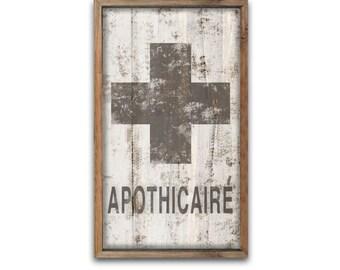 "APOTHICAIRE apothecary bathroom decor kid's bathroom decor restroom decor restroom wall art apothecary signs apothicaire  signs 12""x19""x2"""