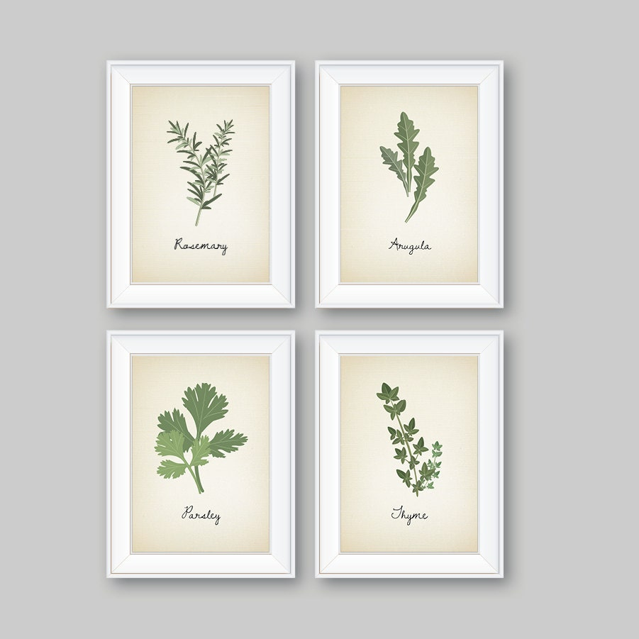 Kitchen decor kitchen art herbs art print herb art herbs for Kitchen wall art sets