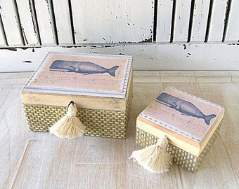Set of two boxes wood decoupage finish