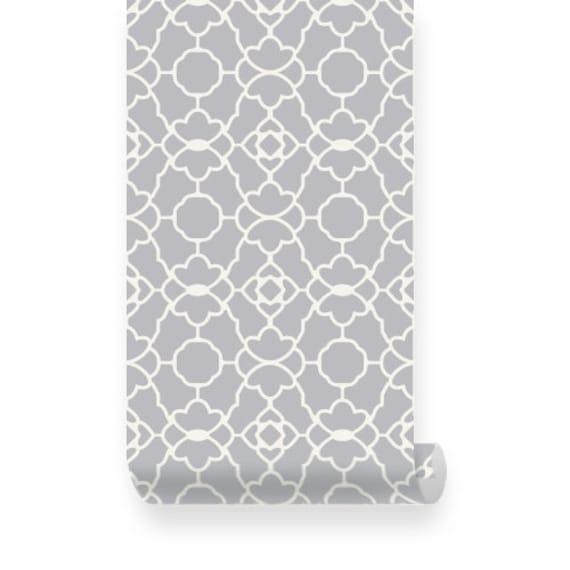 Small Trellis Pattern Warm Grey Removable Wallpaper Peel