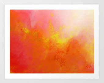 Watercolor Print, Pink and Orange, Art Print, Wall Art, Abstract Sunrise Art, Canvas art, Watercolor Art, Canvas Print, Wall Decor.