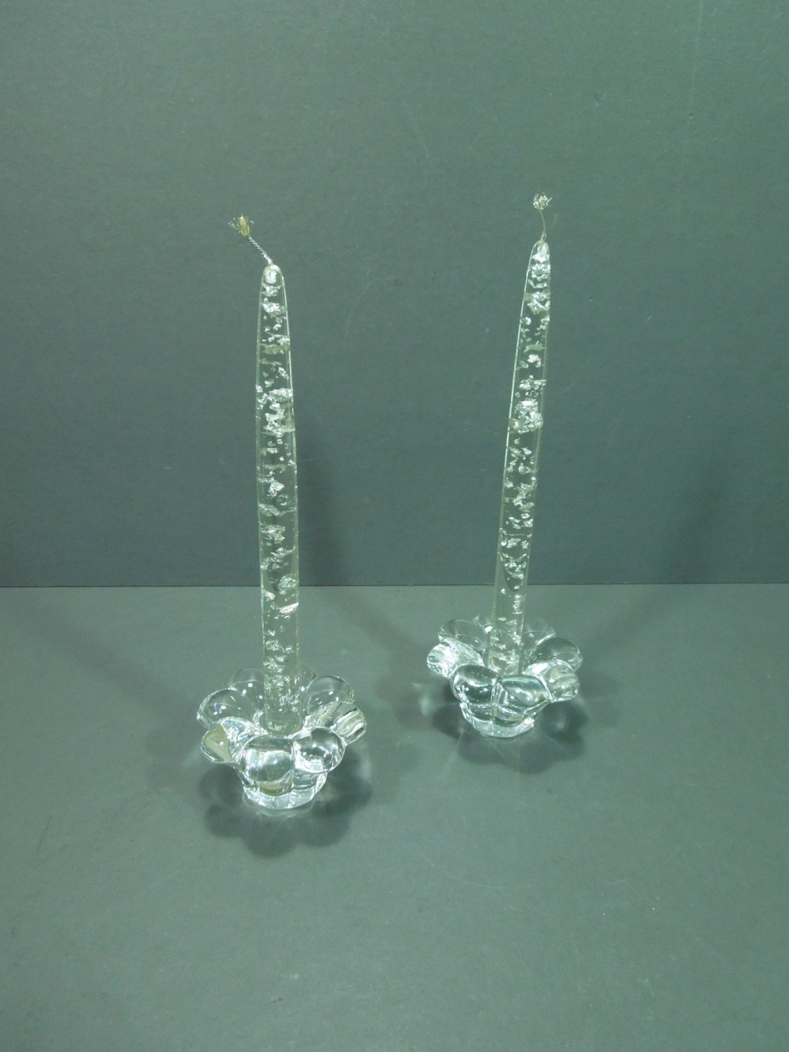 Candles Clear Acrylic Taper Candle Silver Flake Acrylic