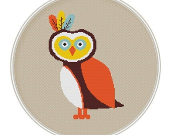 Owl cross stitch pattern, cross stitch PDF, Instant Download, hand embroidery, xstitch, MCS117