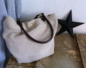 Raw linen handbag/shoulder bag
