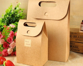 30 Kraft Paper Bags with Handle - Large - Gifts Packaging - for Handmade Soap Scarf Bottles Food Cookies / Party Wedding Favors