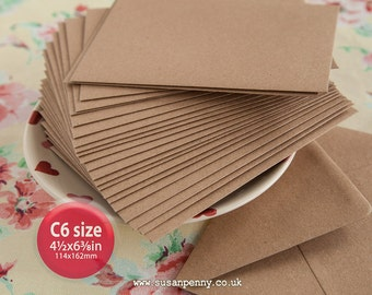 "Kraft Envelopes, 50pk, C6 Brown Flecked Envelopes, 4 1/2 x6 3/8"" Envelopes, Kraft Paper Envelopes C6 - PSS089"