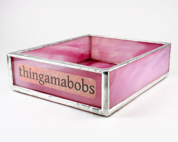 Pink stained glass desk organizer home office by - Glass desk organizer ...