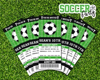 Soccer Invitation Soccer birthday Soccer party Ticket Invitation Party Printable Sports party - Instant Download Editable PDF