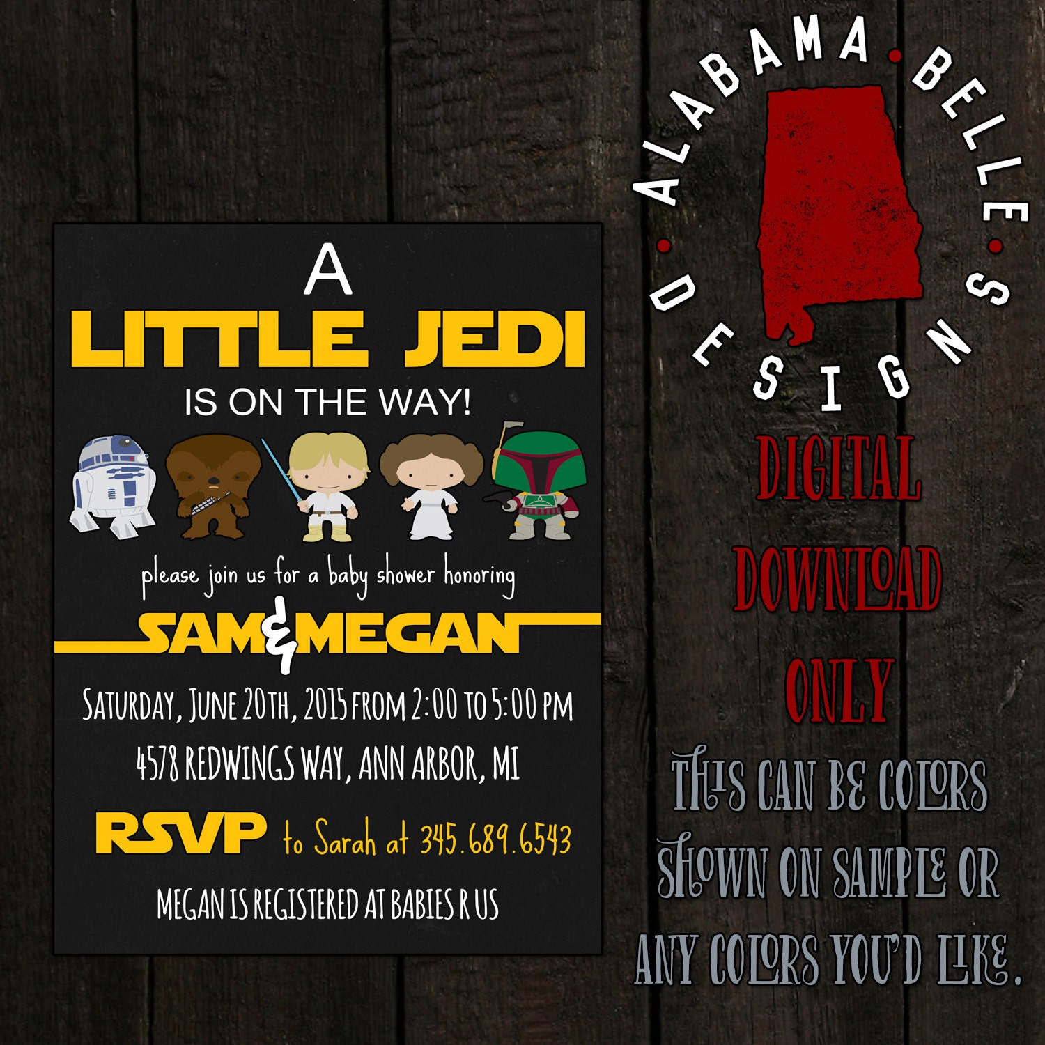 star wars baby shower invitation by alabamabelledesigns on etsy