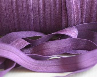 Plum Fold Over Elastic -  FOE - 5/8 Fold Over Elastic -Headband elastic, satin elastic, wholesale elastic