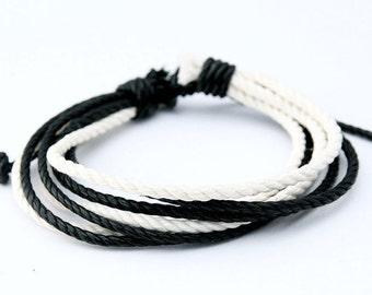 Rope Bracelet, Vegan Hemp Adjustable Black and White Surfer Braclet, HB-15