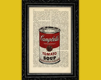 Campbell's Tomato Soup Art Print -  Andy Warhol Can Soup Poster Book Art Dorm Room Print Gift Print Wall Decor Poster Dictionary Pop Print