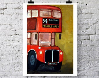 London bus Art print/Greetings card