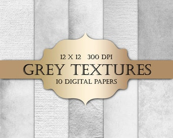 Grey Digital Paper - textured digital papers, shabby chic paper, grey grunge solid backgrounds for scrapbooking, wedding invitations, cards