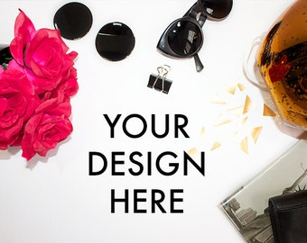 Styled Stock Photo Desk | Red Gold Chic | Office Stock Photo | Styled Stock Photography | Rose | Stock Image | High Resolution