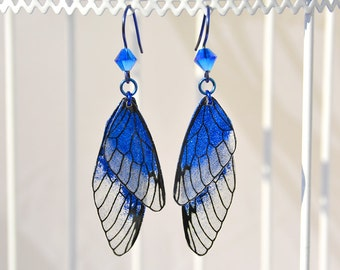"Fairy wings fairy wings earrings ""Fairy"" blue glitter niobium ear hook"