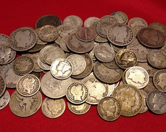 Old U.S. Silver Coins // Mercury Dime + Barber Dime + Barber Quarter // 90% Silver // 3 COINS