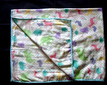 100% Cotton Baby Flannel Blanket - Colorful Animal Prints