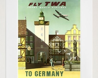 Travel Poster Germany Art Print Vintage German Home Decor (TR567)