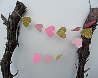 Wedding Garland, pink and gold glitter garland