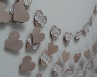 Heart Wedding Garland, Rustic Wedding Garland, Birhday decoration, Home decoration