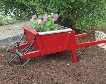 Amish Handcrafted Wooden Wheelbarrow Planter