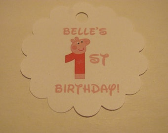 24 Personalized Peppa Pig Birthday Favor Scalloped Tags Party Favors
