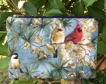 Birds Fabric Pencil Pouch, Pencil Case, Cosmetic Pouch, Coupon Holder