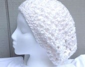 White slouchy hat - Crochet white beanie - Womens hats - Teens accessories - Teens slouchy hat