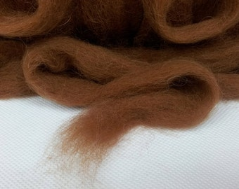 Scottish Alpaca Tops - Fine Fibre for Spinning, Natural Toffee colour - not dyed.