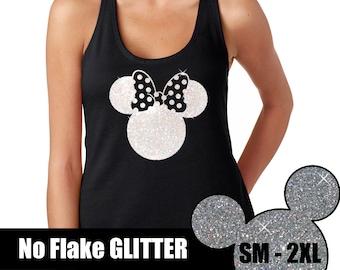 GLITTER Minnie Polka Dot Bow Tank  // Disneyland Shirt // Disney Cinderella Castle Disney Clothing // Mickey Mouse (69-NL-33) White Glitter