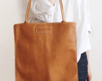 Camel Tone Leather Handbag, Flat Eco Tanned Leather Tote, Flat Constructed Handbag, Brown Bag with Double Handle