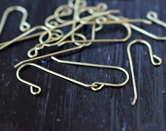 Earring Hooks, Raw Brass Ear Wires, 5 pairs