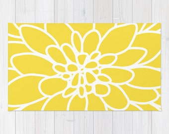 Modern Dahlia Flower Rug Area Rug - Yellow and White Flower Rug - Modern Flower Rug - Abstract Flower Area Rug - Home Decor