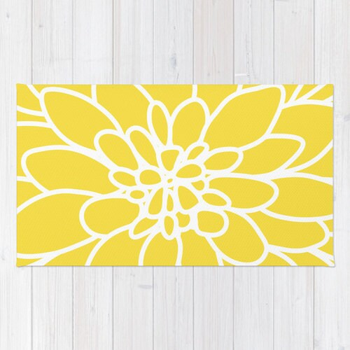 Modern Dahlia Flower Rug Area Rug Yellow And White Flower