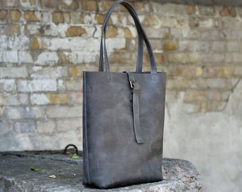 Large tote bag, leather bag, womens bag, tote bag, shopper bag, B014 Grey