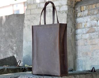 Tote bag, handmade leather bag, leather tote bag, womens bag, shopper bag, B008 Brown