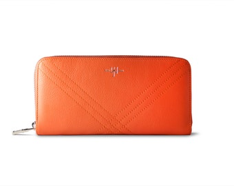Ladies wallet Eve - Ladies Leather Wallet : Orange and Creme
